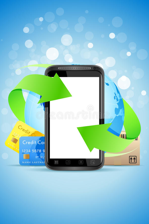 Download Empty Touch Phone With Earth Globe Stock Vector - Image: 24343995