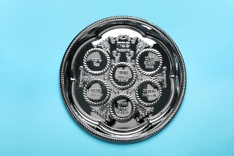Empty traditional Passover Pesach Seder plate stock photo