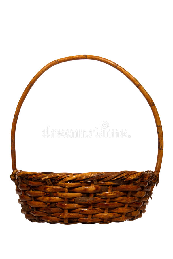 Empty Traditional Rustic Wicker Basket Isolated stock photos