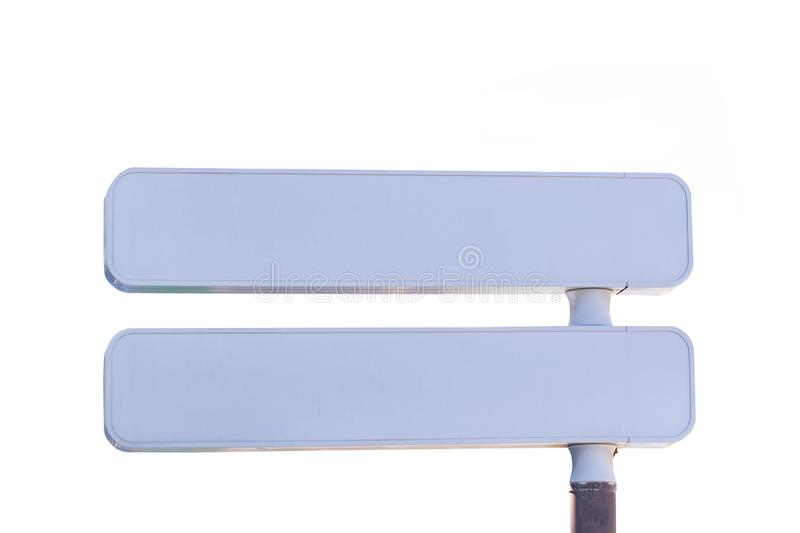 Empty traffic signs. Closeup of two white traffic or road name signs isolated on a white background. Blank large copy space stock photography
