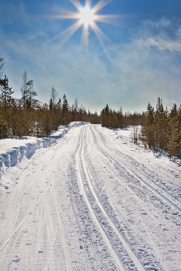 Empty Trails For Cross-country Skiing Royalty Free Stock Photos