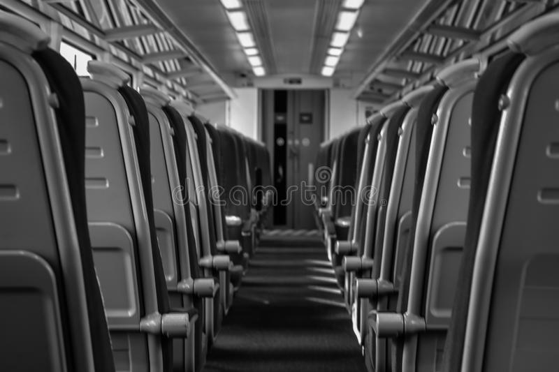 Empty Train Carriage. A picture of an empty train carriage on the 10.35 from Guildford to Waterloo stock photo