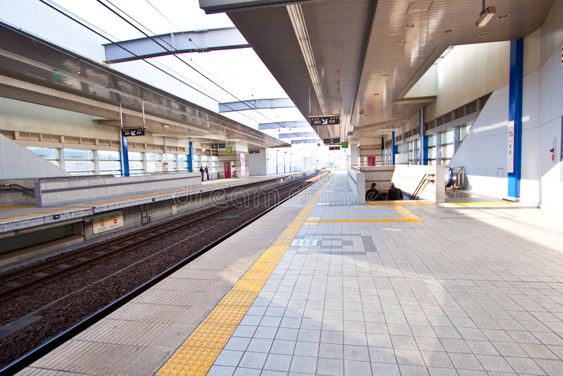 Empty train station royalty free stock photo