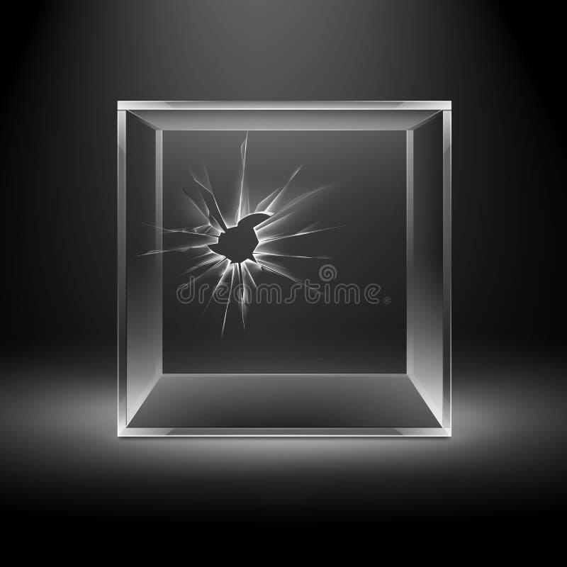 Empty Transparent Broken Crack Glass Box Cube vector illustration