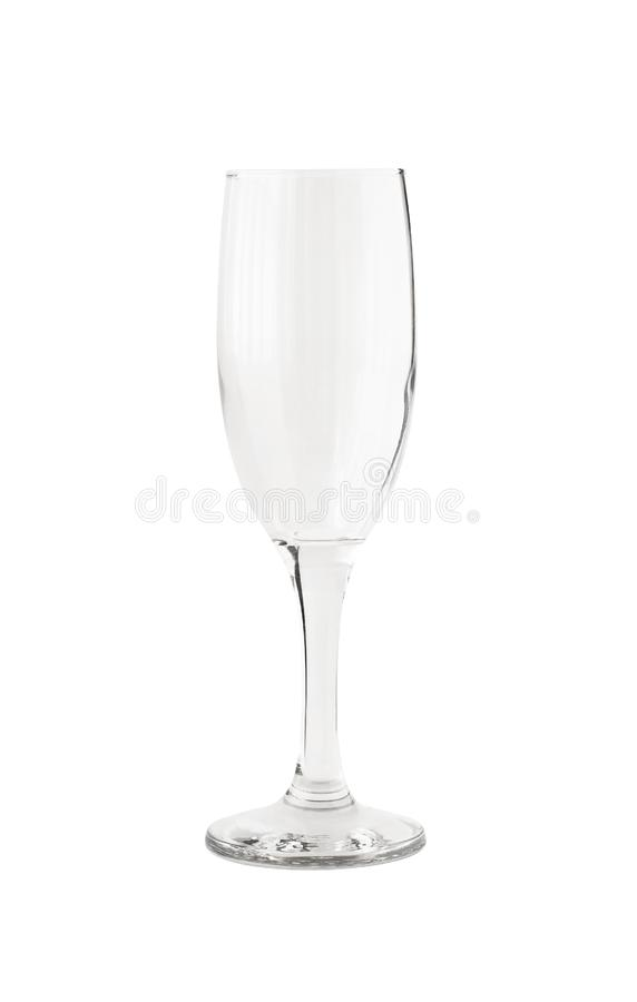 Empty transparent champagne glass isolated. On white background. Crystal tableware for alcoholic drink royalty free stock photo