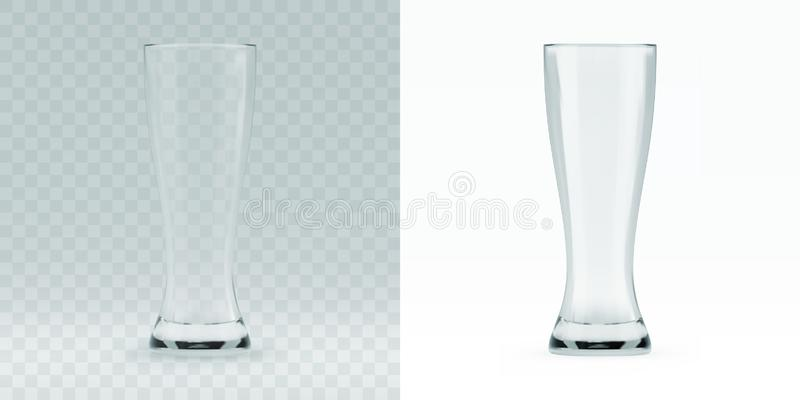 Empty transparent 3D rendered beer glass for drinking alcohol beverage vector illustration