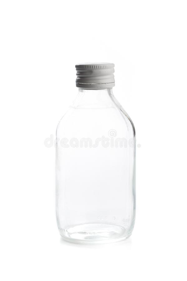Empty transparent glass bottle with screw cap. For medicine, syrup, pills, tabs. Packaging collection - Image stock image