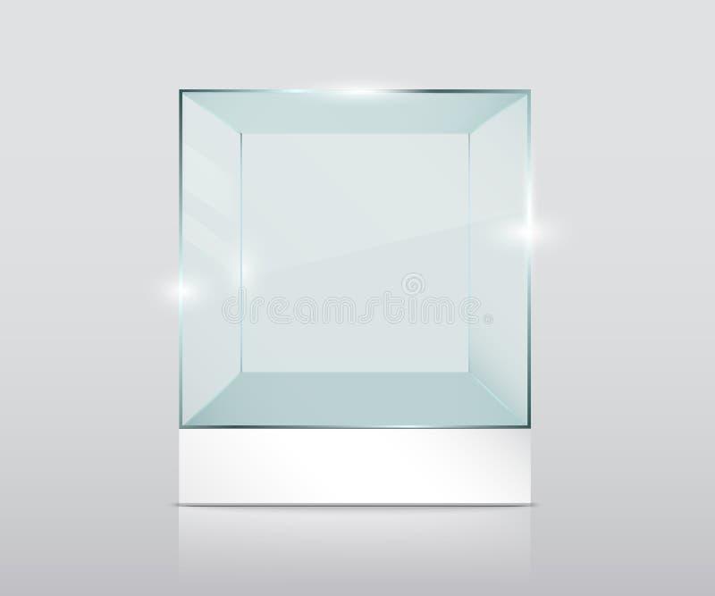 Empty transparent glass cube royalty free illustration