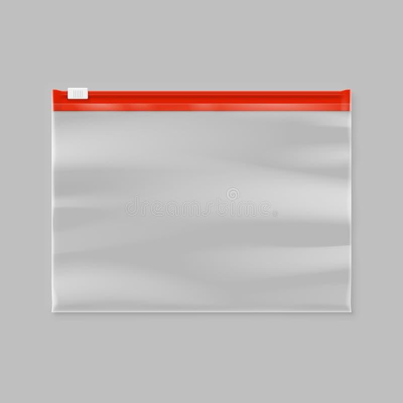 Empty transparent plastic zipper slider bag. Illustration stock illustration