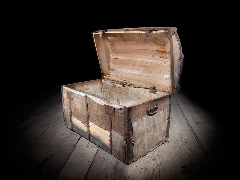 Empty treasure chest. Treasure chest is open and empty royalty free stock photography