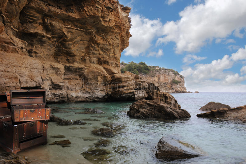Empty Treasure Chest On A Deserted Island Stock Photo