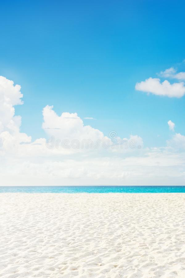 Empty tropical island sea beach with white sand royalty free stock images
