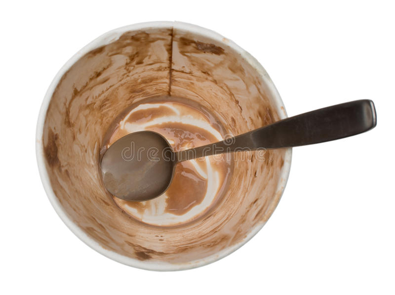 Empty tub of chocolate ice cream with spoon. An empty tub of chocolate ice cream with a dirty spoon in the bottom. Isolated on a pure white background stock photography