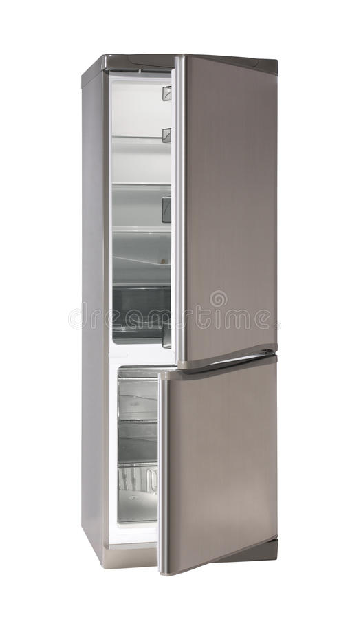 Empty two door refrigerator stock photo
