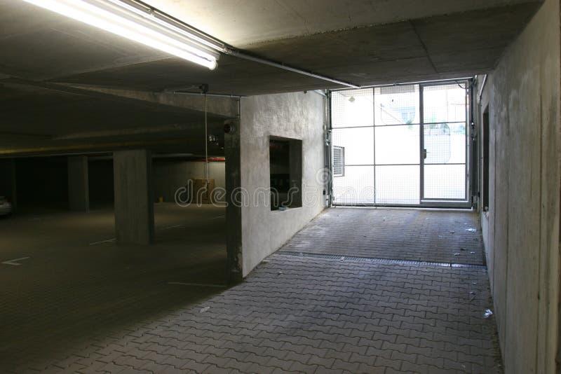 Empty ugly garage stock photo