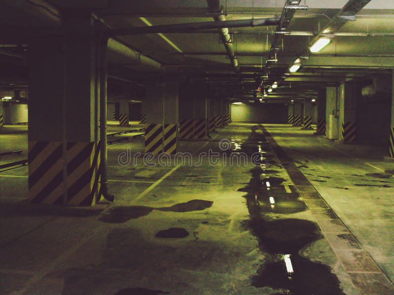 Empty underground parking garage royalty free stock photo