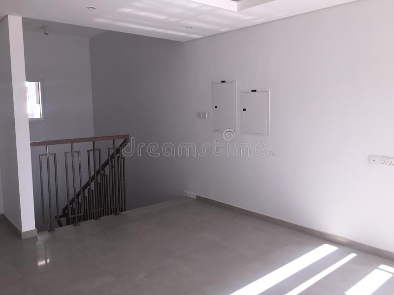 Empty Upstairs Living Room in a new house. Brand New Villa, Townhouse royalty free stock image