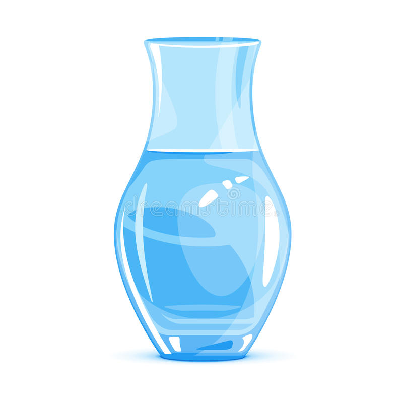 Empty Vase. One empty classic vase, water in glass container, isolated on white stock illustration