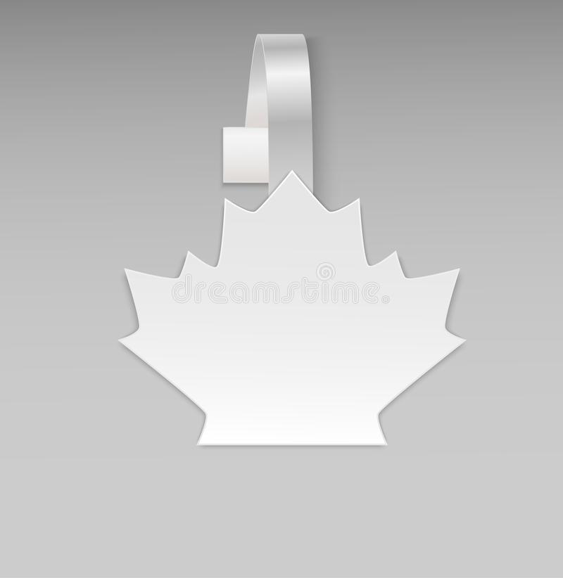 Empty vector blank white leaf maple paper plastic advertising price wobbler front view. Isolated on background. Advertising sticke stock illustration