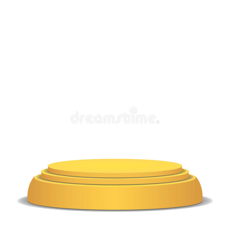Empty Vector Podium. Isolated On White Background. Yellow 3D Stage. Realistic Platform. Round Pedestal Concept. royalty free illustration