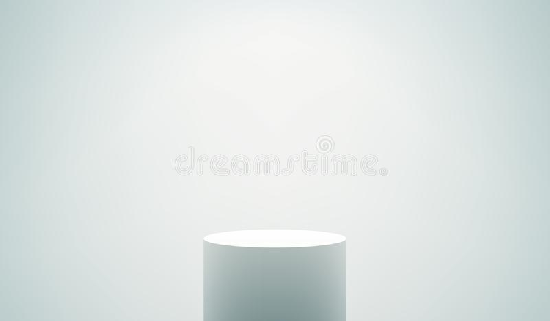 Empty White Podium. Empty vector realistic pedestal. White cylinder stand on white background. Round podium with shadows and light effects stock illustration