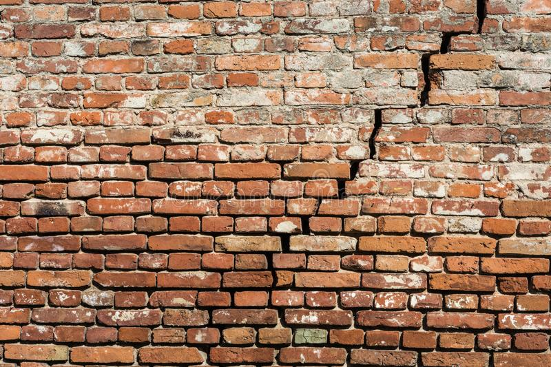 Empty very old red brick wall texture with cracks stock image