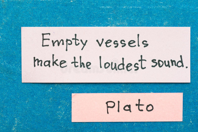 Empty vessels. Famous ancient Greek philosopher Plato quote interpretation with sticky notes on vintage carton board about babbling royalty free stock image