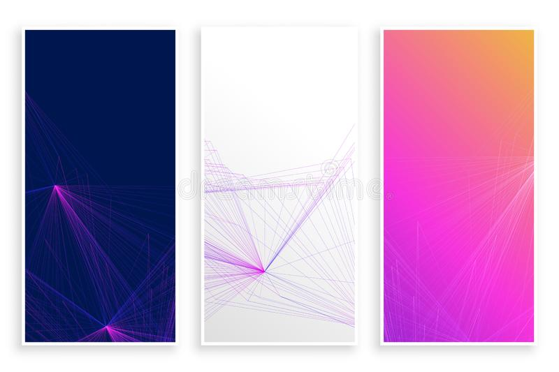 Empty vibrant abstract lines banners set vector illustration