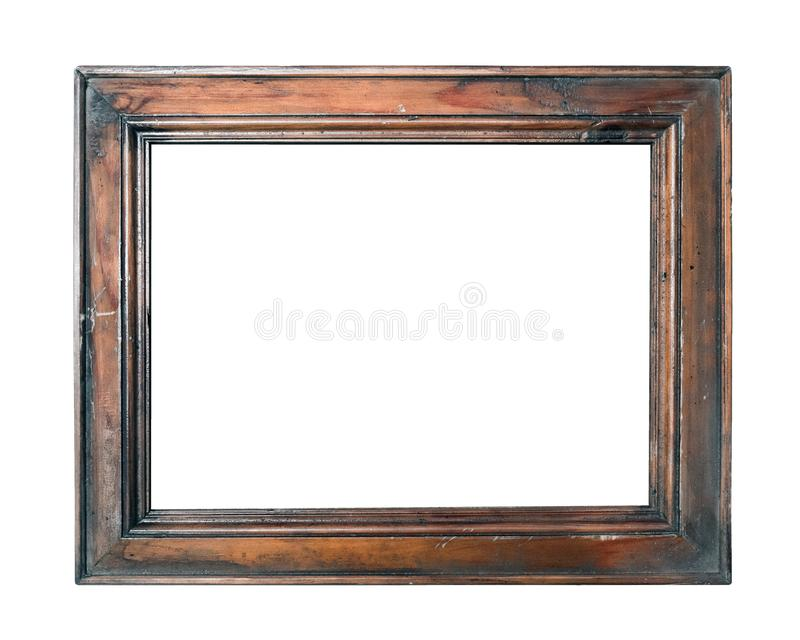 Empty vintage brown photo picture frame isolated on white background closeup royalty free stock photos