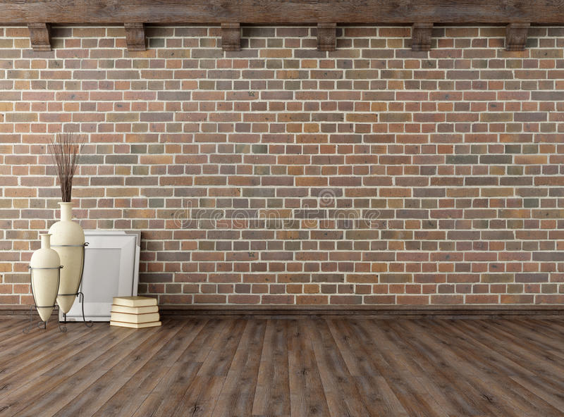 Empty vintage interior with brick wall royalty free illustration