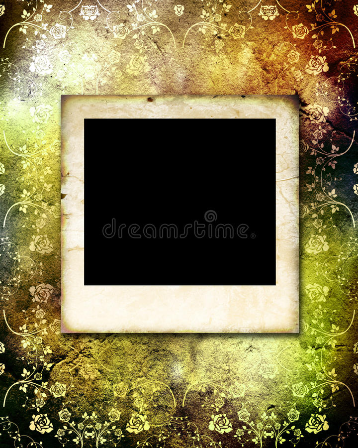 Empty vintage photo frame on old paper background stock images
