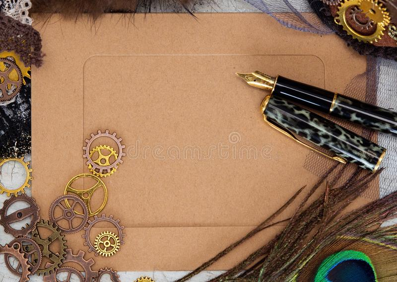 Empty vintage postcard close-up messages in Victorian steampunk style. Retro pen with metal pen. A place for a romantic royalty free stock photography