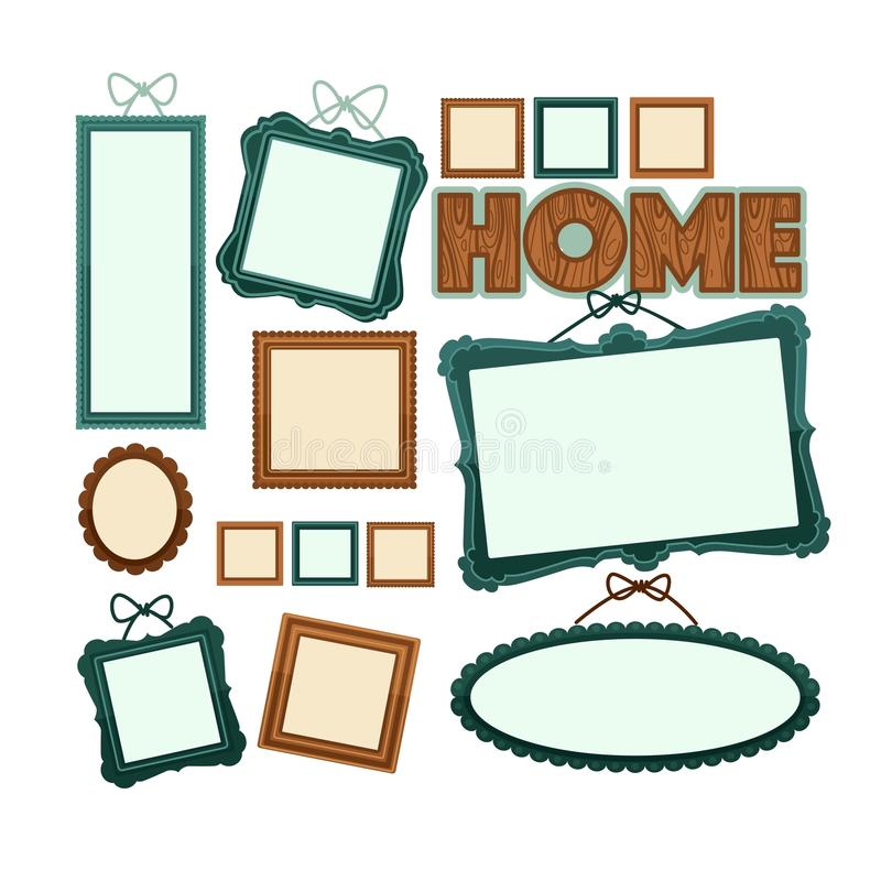Empty vintage wooden frames for home photo collection stock illustration