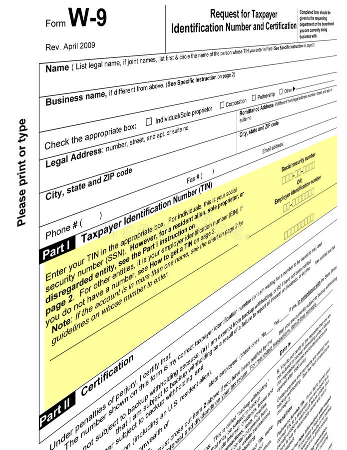 Empty w-9 form blank, 2011 tax paying. One empty w9 form blank. Fill out the revenue w-9 (w9) tax paying form for 2010-2011, signature required. personal sign stock illustration