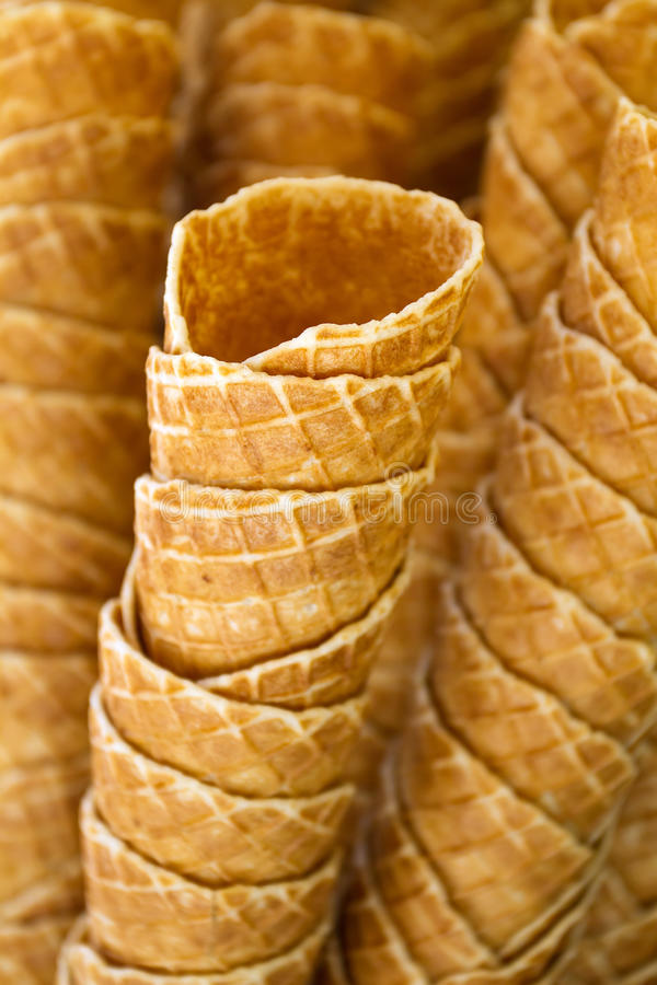 Empty waffle ice cream cones royalty free stock images