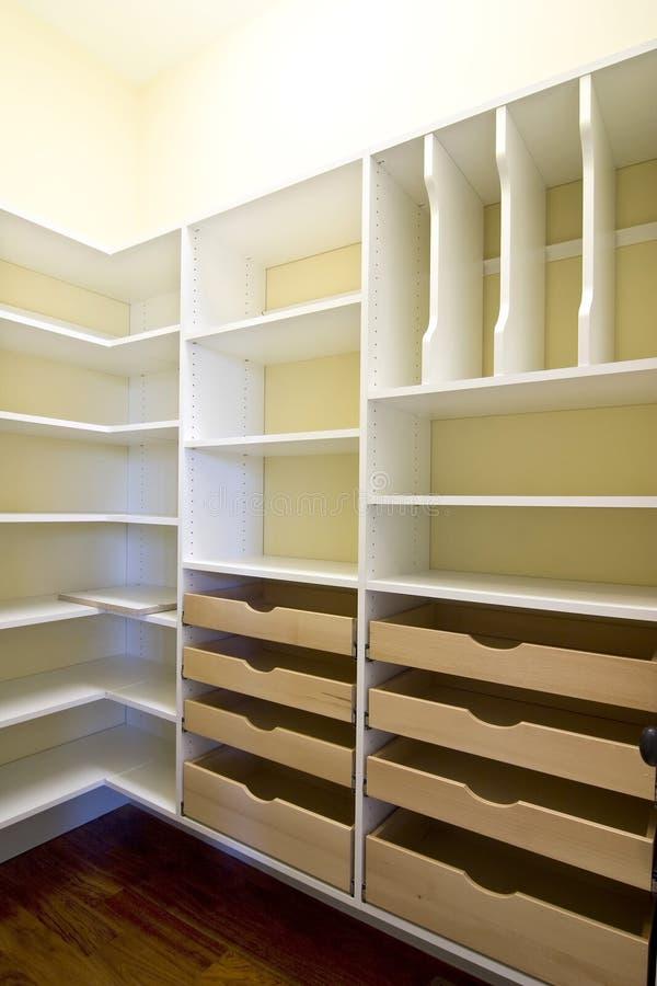 Empty walk-in closet stock image