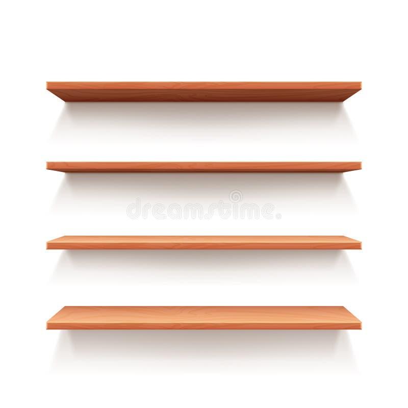 Empty wall book shelf, wood shelves vector illustration. Empty wall book shelf, wood shelves for shop and store interior design. Vector illustration stock illustration
