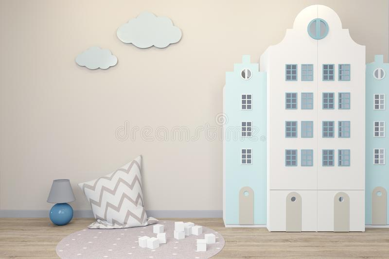 Empty wall in the interior of the children`s room in the Scandinavian style. Wardrobe in the form of Amsterdam houses. royalty free illustration