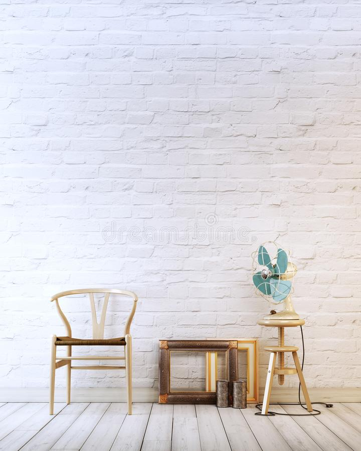 Empty wall with wooden chair and air fan in a white brick background modern interior vector illustration