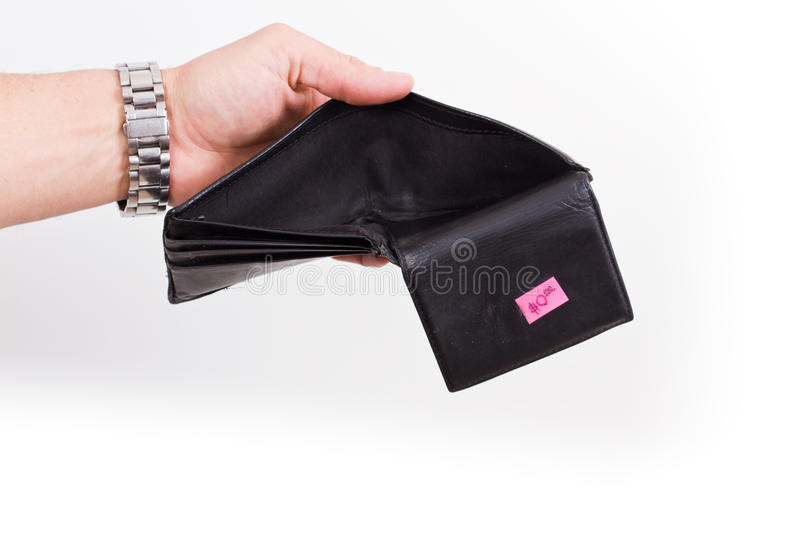 Empty wallet. Hands opening an empty wallet over white royalty free stock photography