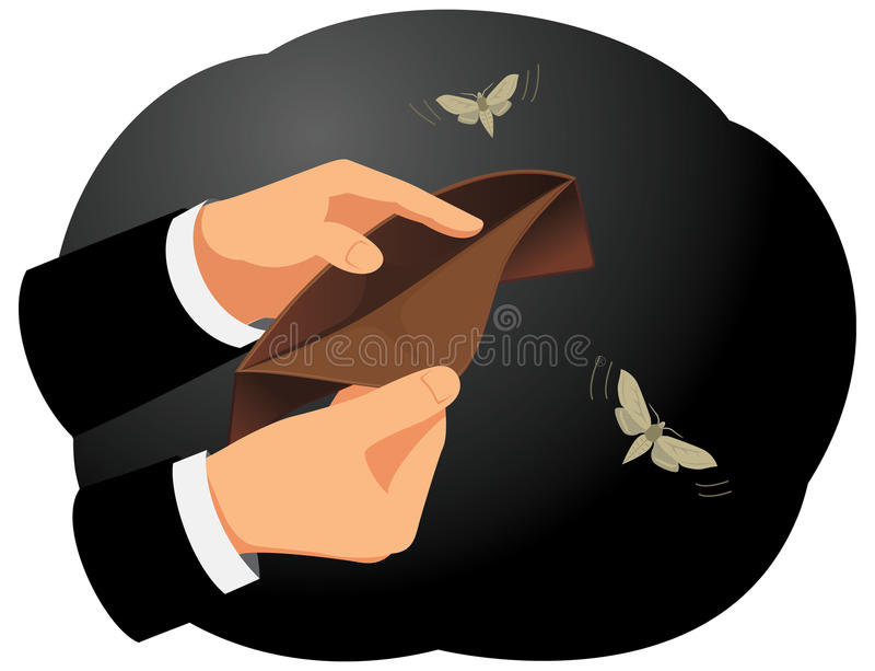 Empty wallet. Hands are holding an empty wallet. Moths flying around. Finance and economy vector illustration