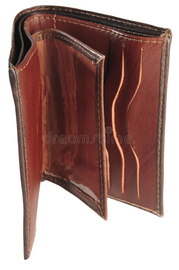 Empty wallet. Isolated stock photography