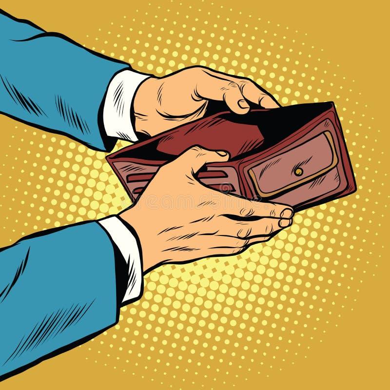 Empty wallet, no money. Pop art retro vector illustration. Finance and poverty royalty free illustration