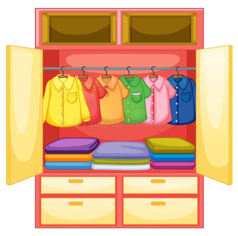 Empty wardrobe. Wardrobe with clothes on white royalty free illustration