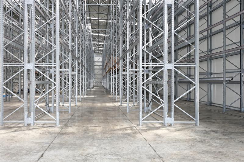 Empty Warehouse. Empty Shelves in New Distribution Warehouse stock image