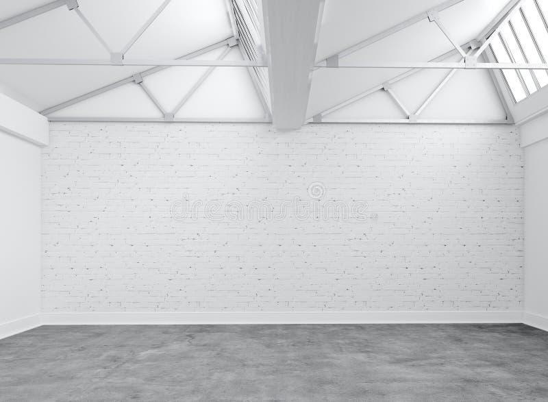 Empty Warehouse. White bricks and concrete ground in empty warehouse stock photos