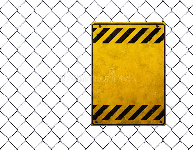 Empty warning sign. Empty yellow plate at chainlink fence vector illustration