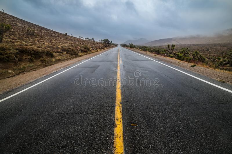 Empty wet desert asphalt pavement road with yellow highway marking lines.  stock photo