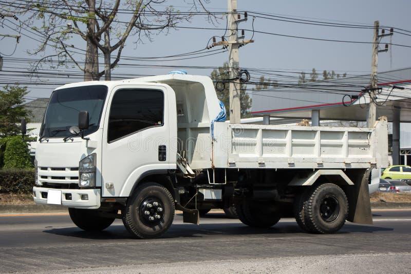 Empty 6 Wheel Dump truck. On highway road royalty free stock image