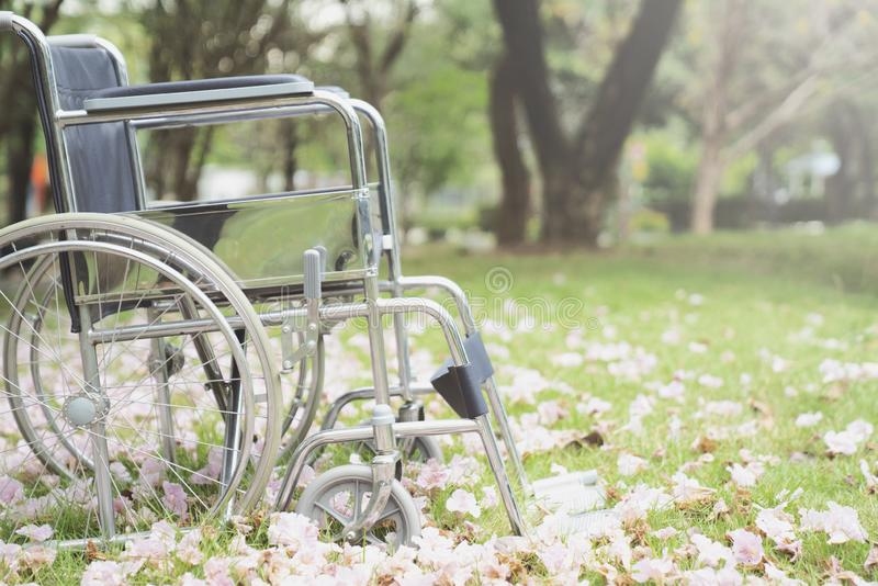 Empty wheelchair parked in hospital, healthy and medicine concept. Close up stock photo